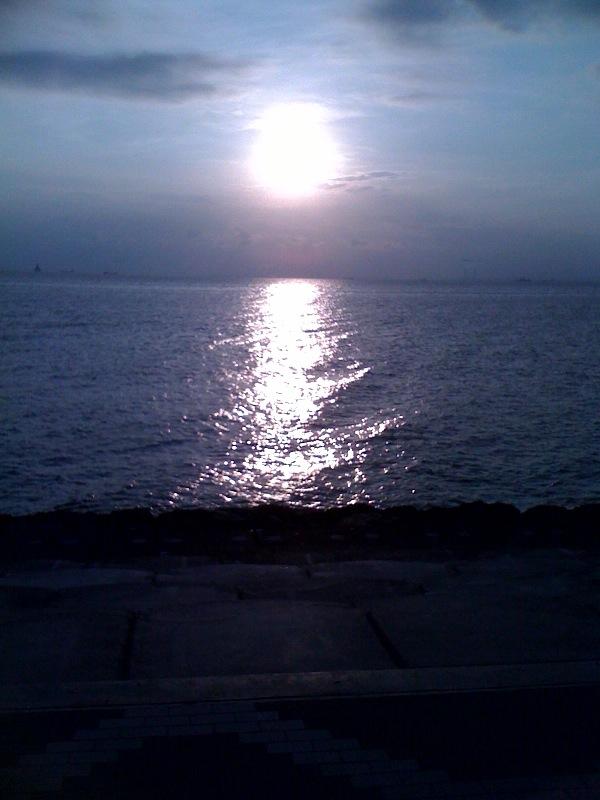今日は仕事を早く切り上げて海まで来ました